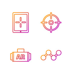 Set line share ar augmented reality tablet vector