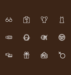 Set of 12 editable shopping outline icons vector