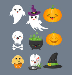 set of cute halloween elements vector image