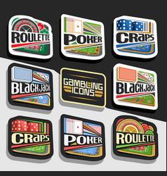 set of gambling icons vector image