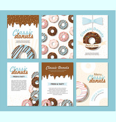 set posters template with donuts vector image