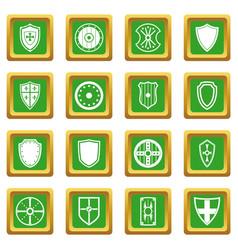shield frames icons set green vector image