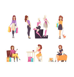 Shopping women choosing clothes isolated vector