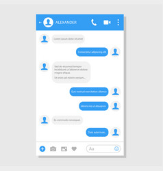 Social network messenger page template vector