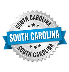 South carolina round silver badge with blue ribbon vector