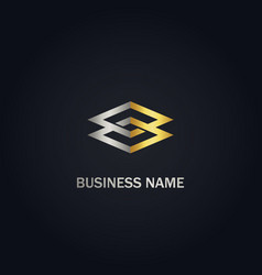 Square connect geometry company gold logo vector