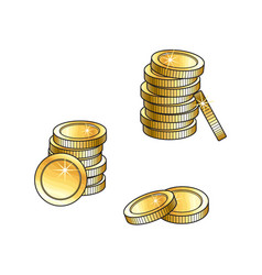 Stacks gold coins tall and short money symbol vector