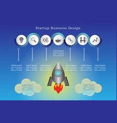 startup business design rocket part 1 vector image