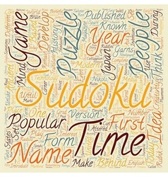 sudoku text background wordcloud concept vector image