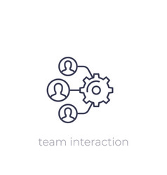 Team interaction hr management linear icon vector