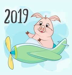 Toy a propeller and a pig the inscription 2019 vector