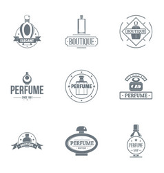 Unique perfume logo set simple style vector