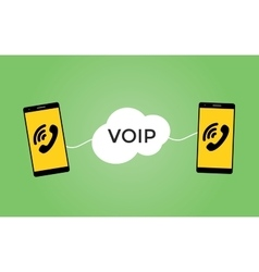 Voip voice over protocol concept with two vector