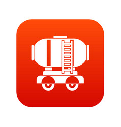 Waggon storage tank with oil icon digital red vector