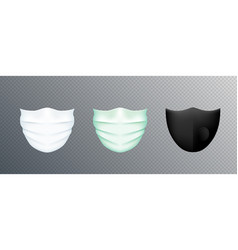 white medical mask isolated on transparent vector image