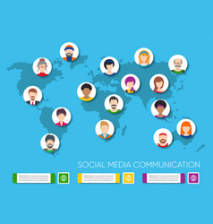 world map with people avatars vector image