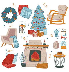 xmas decorations for christmas winter holidays vector image