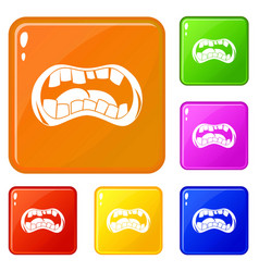 Zombie mouth icons set color vector