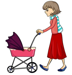 A woman and baby pram vector image vector image