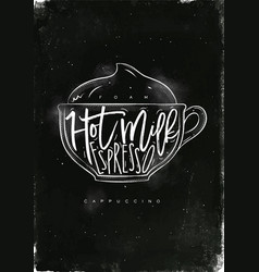 cappuccino cup chalk vector image vector image