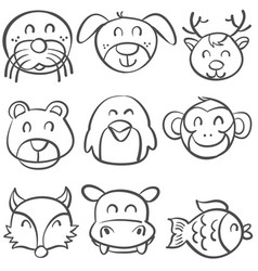 doodle of animal head style hand draw vector image