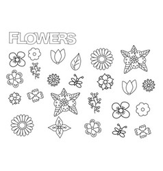 hand drawn flowers set coloring book page vector image vector image