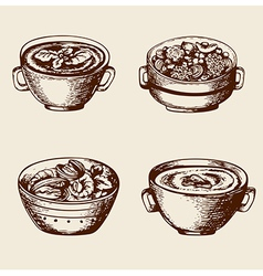 Vintage hand drawn soup vector image vector image
