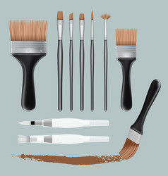 brush paint mockup set realistic style vector image vector image