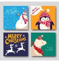card with Christmas reindeer snowman penguin vector image vector image