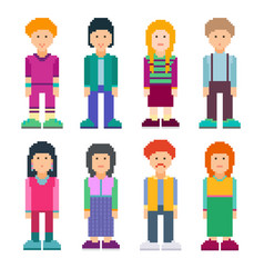 Colourful set of pixel art style characters vector