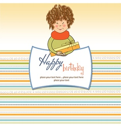 Curly young girl offer a special gift vector