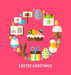 easter greetings postcard vector image