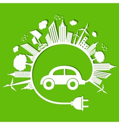 Ecology concept with eco car stock vector