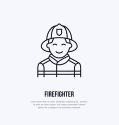 firefighter flat line sign flame protection thin vector image vector image