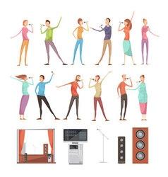 Karaoke party elements set vector