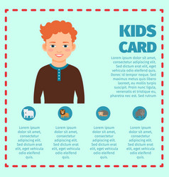 Kids card infographic template with boy vector