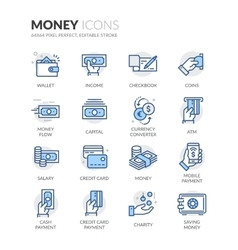Line Money Icons vector image