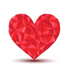 polygonal ruby heart with reflection and shadow vector image vector image