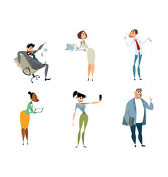 set of funny office characters vector image