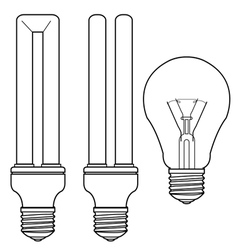 bulb and fluorescent bulb vector image