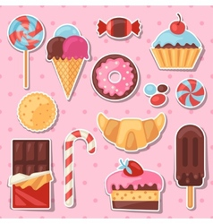 Set of colorful sticker candy sweets and cakes vector image