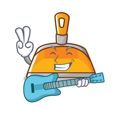 with guitar dustpan character cartoon style vector image vector image