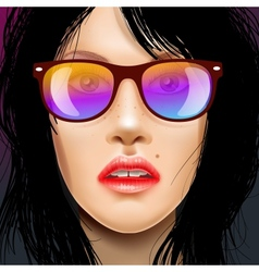 Womans face in sunglasses vector image vector image