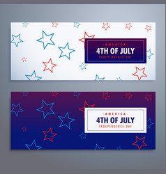 4th of july banners set in white and blue colors vector image vector image