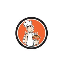 Chef Cook Carrying Bowl Circle Cartoon vector image