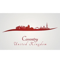 Coventry skyline in red vector image vector image