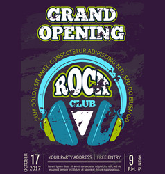 rock music club music shop with headphones vector image vector image