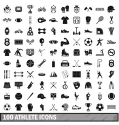 100 athlete icons set simple style vector