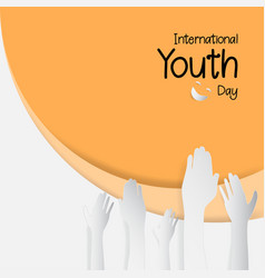 12 august international youth day paper cut style vector image