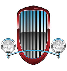 1930s style hot rod car grill with headlights vector